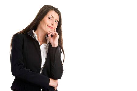 Portrait of mature elegant businesswoman thinking photo