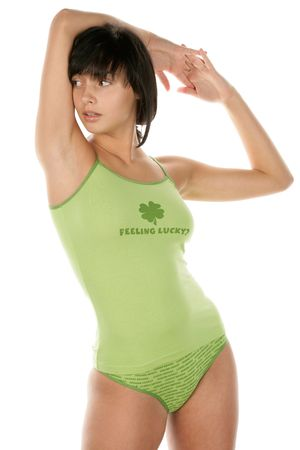Woman wearing green lingerie photo