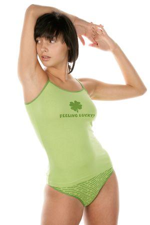 Woman wearing green lingerie Stock Photo - 6611093