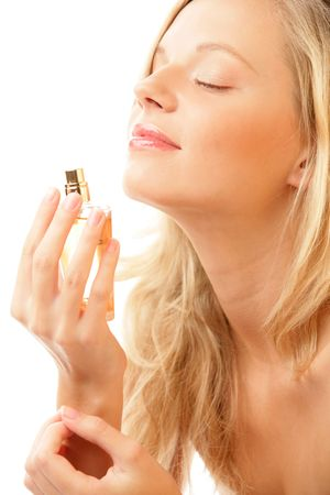 one eyed: Woman smelling perfume