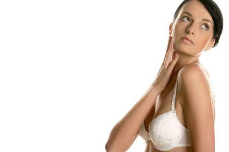 hand wear: Woman touching neck