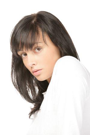 Pensive teenage girl photo