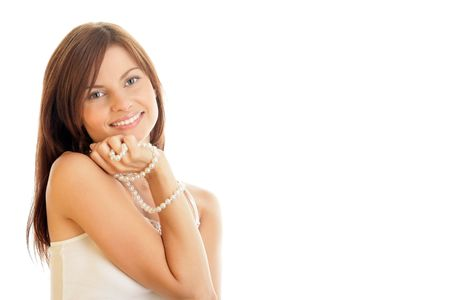 Portrait of young woman wearing pearl necklace  Stock Photo