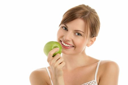Portrait of young beauty woman with green apple  photo