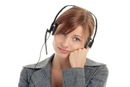dullness: Woman wearing headset Stock Photo