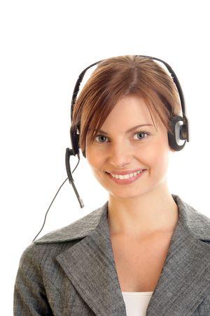 Portrait of friendly secretary/telephone operator wearing headset Stock Photo - 8201193
