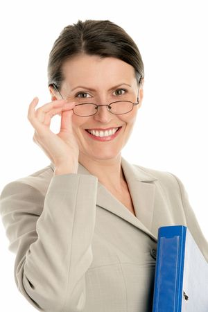 school aged: Mature businesswoman wearing glasses and holding ring binder