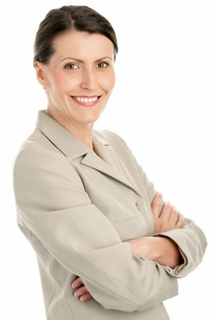 Portrait of attractive businesswoman with arms crossed Stock Photo