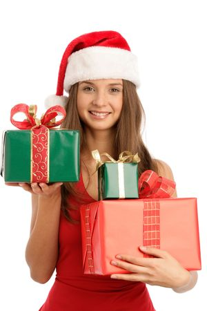 Christmas woman with gifts photo