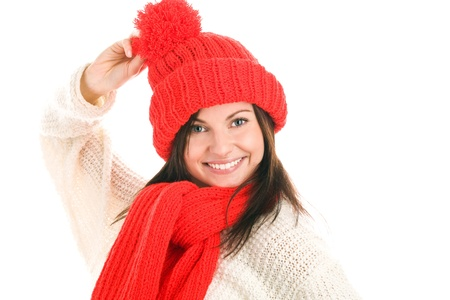 Woman wearing winter clothes photo