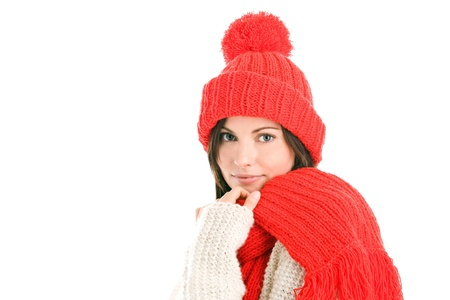 Woman wearing woollly scarf and cap Stock Photo - 8367246