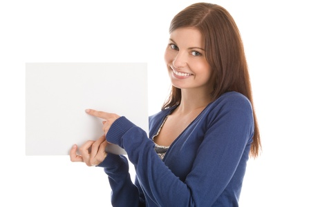 Woman with blank card photo