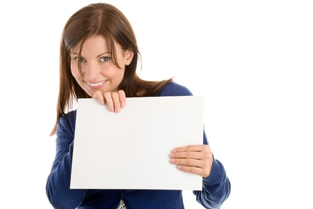 Woman holding blank note card  Stock Photo - 8367312
