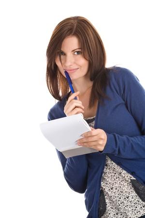 fille pull: Femme est records de plume dans le bloc-notes