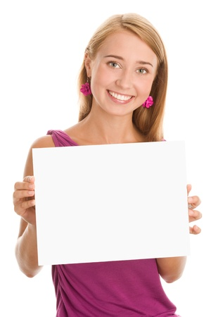 Woman holding blank white board Stock Photo - 9424127
