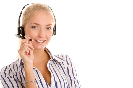 Customer service representative wearing a telephone headset photo