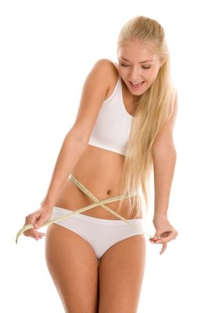 Young beautiful woman measuring her waist photo