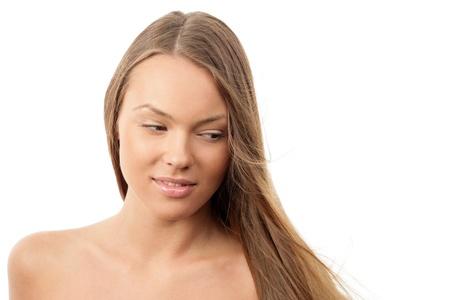 Young woman with blowing hair photo