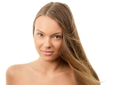 Woman with hair flying in breeze photo