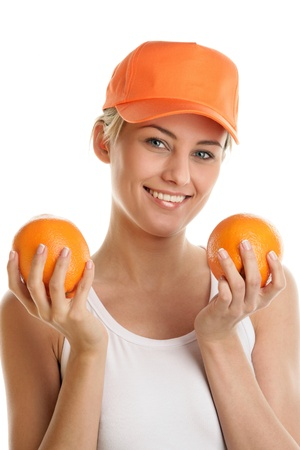 Woman holding fresh oranges photo