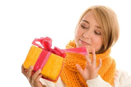 Woman opening gift photo