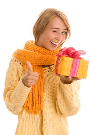 Happy woman holding gift photo