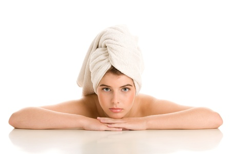 Woman with hair wrapped in towel Stock Photo - 19424449