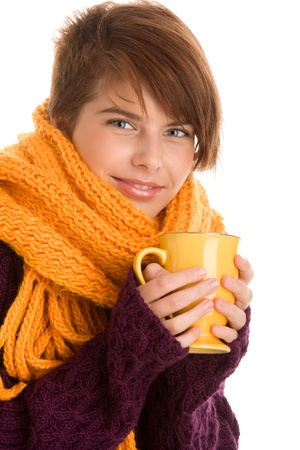 cold weather: Young pretty woman drinking hot chocolate
