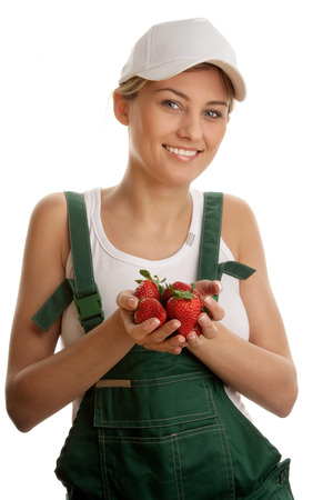 Young woman with strawberries photo