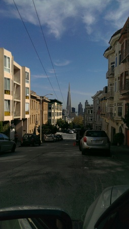 Hilly street in San Francisco viewing the financial district