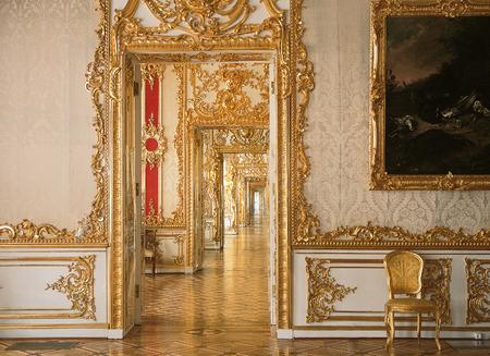 tsarskoye: Tsarskoye Selo, Russia - 05 March 2015 : Door perspective at Tsarskoye Selo Pushkin Palace near Saint Petersburg