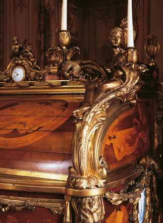 queen bed: Versailles, France - 10 August 2014 : Detail of furniture at Versailles Palace  Editorial