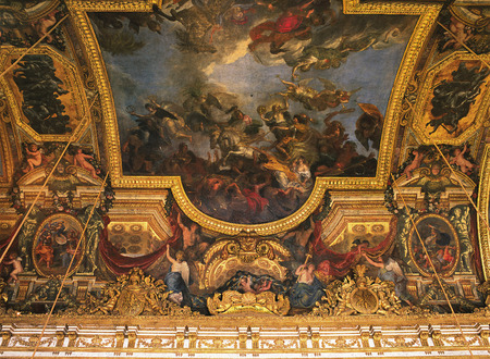 xvi: Versailles, France - August 2014 :Crossing the Rhine in the Presence of Enemiespaint on the ceiling of the Hall of Mirrors, Versailles Palace ( Chateau de Versailles )