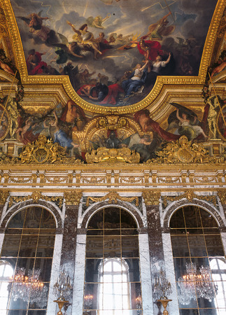 versailles: Versailles, France - 10 August 2014 : Hall of Mirrors painted ceiling at Versailles Palace ( Chateau de Versailles ).  Editorial