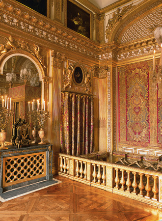 Versailles, France - 12 August 2014 : King Louis XIV bedroom and bed at Versailles Palace ( Chateau de Versailles ).