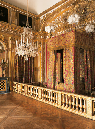 queen bed: Versailles, France - 12 August 2014 : King Louis XIV bedroom at Versailles Palace ( Chateau de Versailles ).