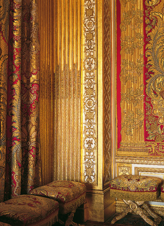 xvi: Versailles, France - August 2014 : woodwork and woven silks from Lyon in Louis XIV