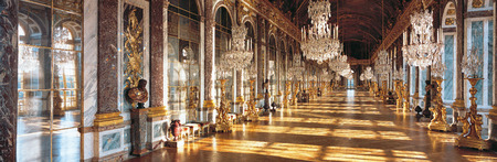 Versailles, France - 10 August 2014 : Hall of mirrors at Versailles Palace ( Chateau de Versailles ).