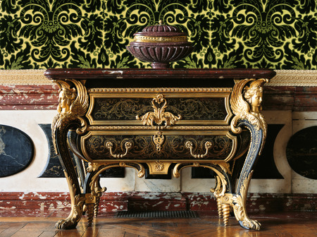 versailles: Versailles, France - 10 August 2014 : Wood furniture at Versailles Palace ( Chateau de Versailles ).