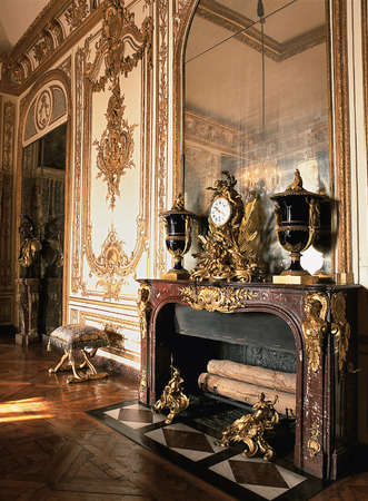versailles: Versailles, France - 10 August 2014 : Wooden room with gold ornament at Versailles Palace ( Chateau de Versailles ). Editorial