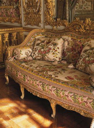 Versailles, France - 13 August 2014 : Furniture in Queen Marie Antoinette bedroom at Versailles Palace ( Chateau de Versailles ).