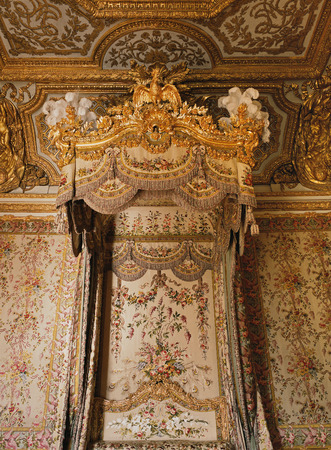 Versailles, France - 13 August 2014 : Queen Marie Antoinette bed at Versailles Palace ( Chateau de Versailles ).