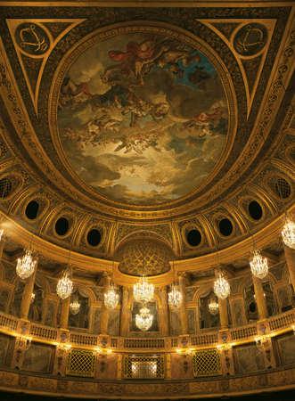Versailles, France - 13 August 2014 : Royal opera ceiling at Versailles Palace ( Chateau de Versailles ).