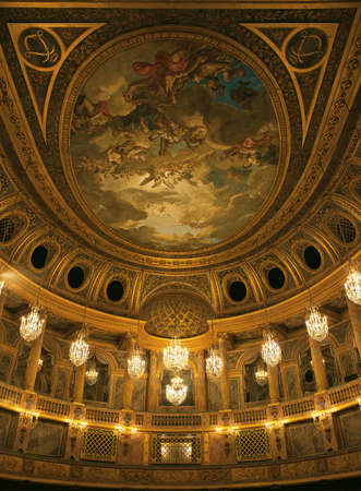queen's theatre: Versailles, France - 13 August 2014 : Royal opera ceiling at Versailles Palace ( Chateau de Versailles ). Editorial