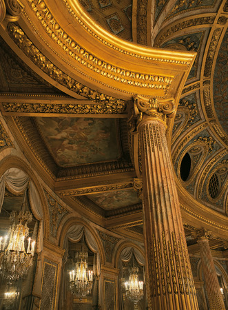 Versailles, France - 13 August 2014 : Detail of the royal opera ceiling at Versailles Palace ( Chateau de Versailles ).