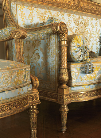 Versailles, France - 13 August 2014 : Detail of fabric armchairs at Versailles Palace ( Chateau de Versailles ).