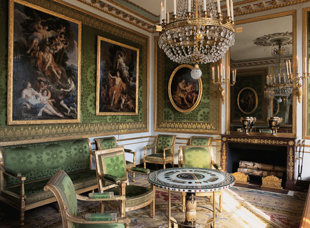 Versailles, France - 10 August 2014 : Green room with furnitures and paintings at Versailles Palace ( Chateau de Versailles ).