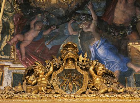 Versailles, France - 10 August 2014 : painted ceiling at Versailles Palace ( Chateau de Versailles ).