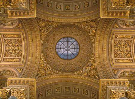 Versailles, France - 10 August 2014 : Yellow ceiling at Versailles Palace ( Chateau de Versailles ).