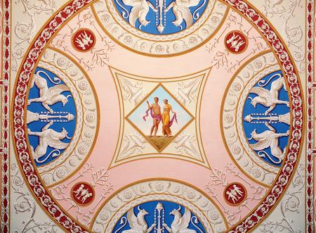 selo: Tsarskoye Selo, Russia - 05 March 2015: Decorated ceiling at Tsarskoye Selo Pushkin Palace near Saint Petersburg Stock Photo